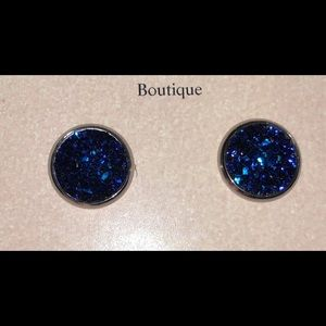Druzy style royal blue earrings